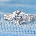 3 Carat Nuevo DEF Laboratorio Crecido anillo de Compromiso de La Boda Anillo de Diamante de Moissanite Con Acentos de Diamante Real 14 k 585 Oro Blanco