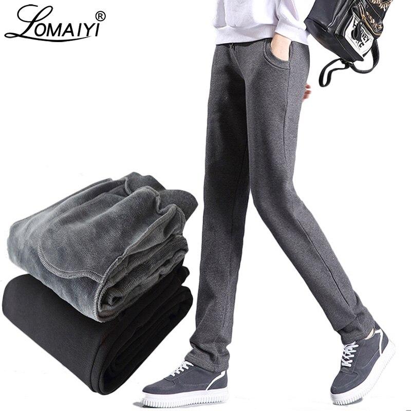 Image 3 - LOMAIYI Plus Size Winter Warm Pants For Women Korean Sweatpants Women's Trousers Female Black Soft Fleece Cotton Pants BW032-in Pants & Capris from Women's Clothing