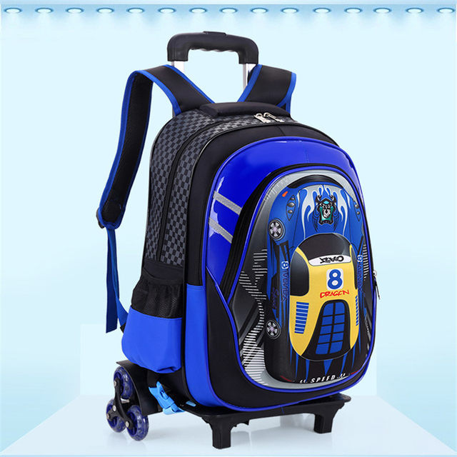 NEW 2PCS SET boys students trolley case Travel luggage 3D cartoon car 2 6 wheels  trolley school bag backpack for boys grade 1-5 d39c52575b