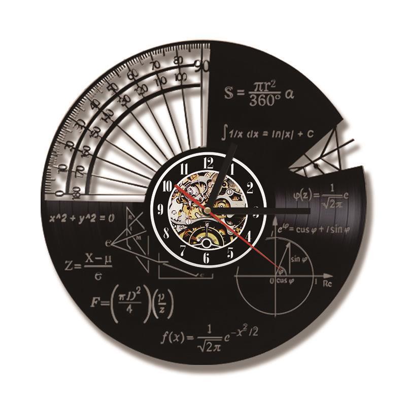 Math Themes Quartz Decorative LED Record Wall Clock
