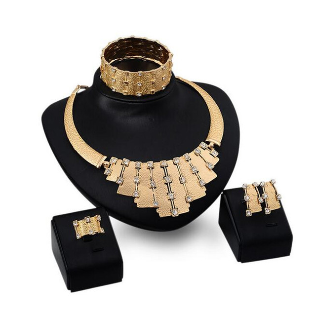2015 New Europe Fashion Necklace Bracelets Rings Earring Bride Vintage Chain Jewelry Sets For Women Wedding Gift S0252