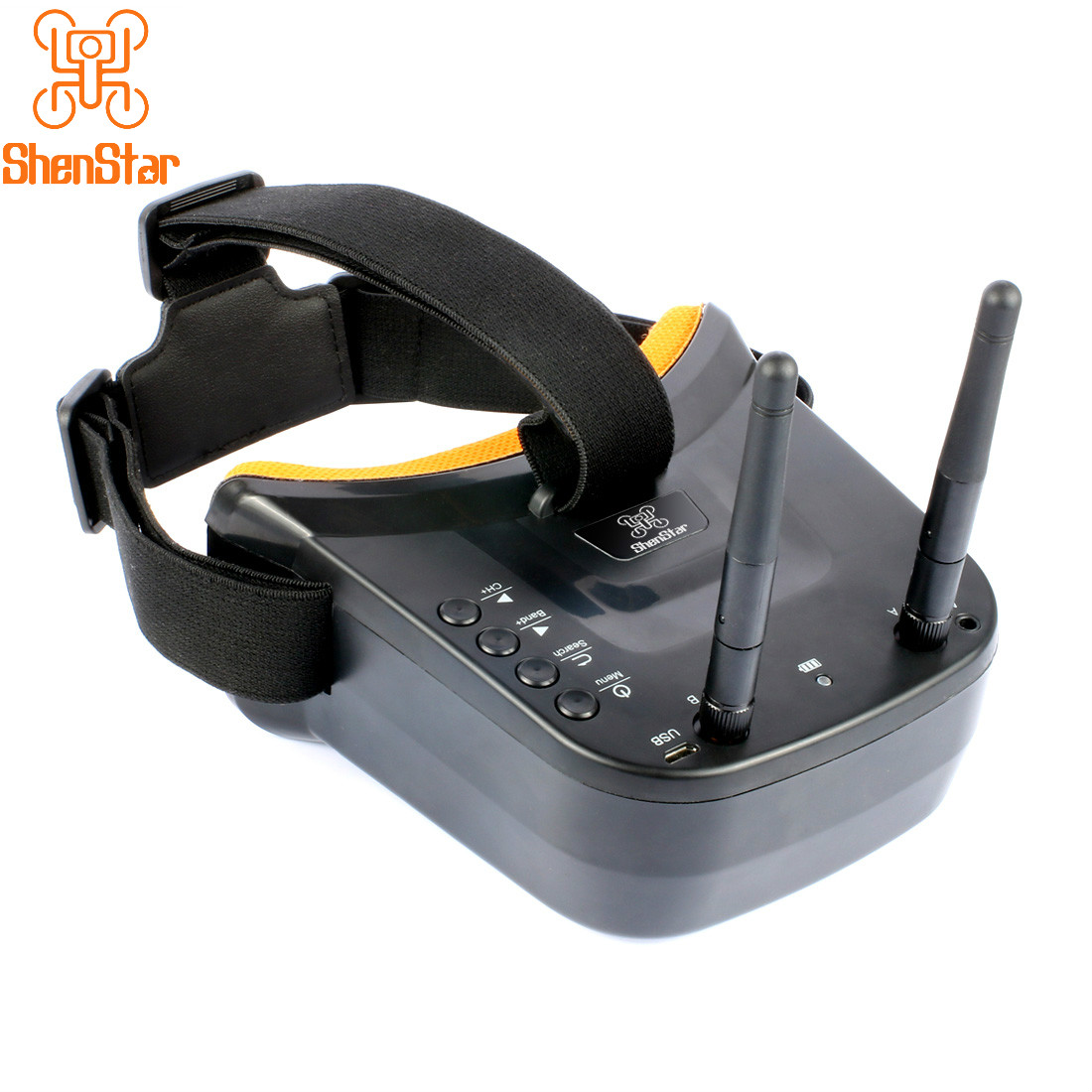 New Mini FPV Goggles 3 inch <font><b>480</b></font> x <font><b>320</b></font> Display Double Antenna 5.8G 40CH Built-in 3.7V 1200mAh Battery for Racing Drone Models image