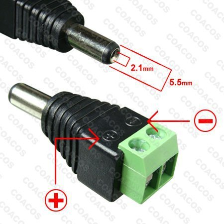 2.1mm dc connector CCTV male Plug Adapter Cable UTP Camera Video Balun Connector
