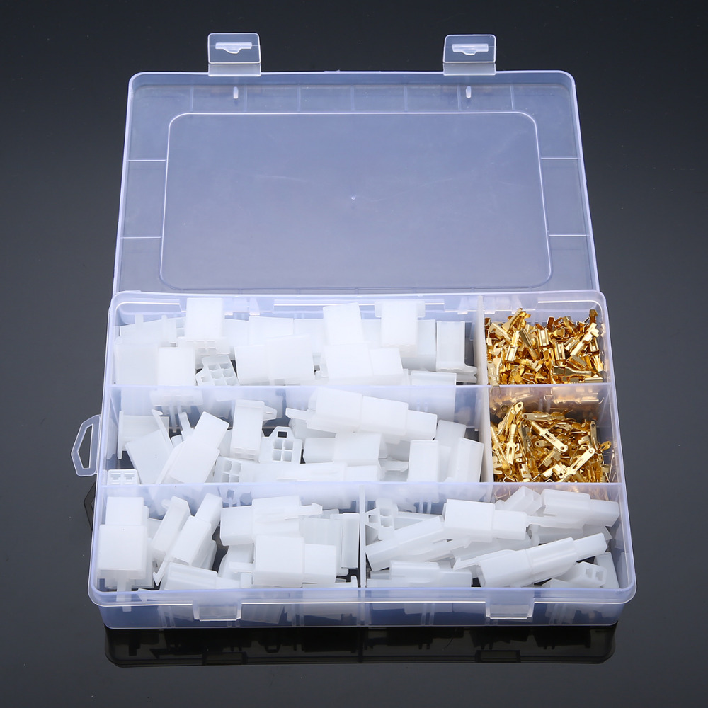 40 Set Auto Electrical Terminal Practical <font><b>2</b></font>.8 mm <font><b>2</b></font> 3 <font><b>4</b></font> 6 <font><b>Pin</b></font> Way Cable Wire Connectors Terminals for Cars Motorcycles Mayitr image
