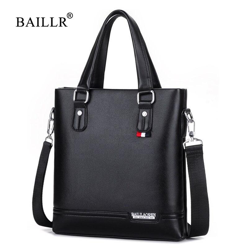 BAILLR Brand New Arrival Vertical Tote Briefcases Shoulder Handbag Tote Bag top-handle Casual pu Leather Men Crossbody Bags 2017