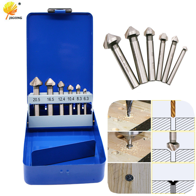 JIGONG 6pcs boxed 90 Degree Chamfering End Mill Milling Cutter Bits For Wood Metal Drill Bit free shipping new 6pc 3 flutes 90 degree hss chamfer chamfering cutter end mill drill bits milling metal cutting tool set