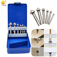 6pcs Boxed 90 Degree Chamfering End Mill Milling Cutter Bits For Wood Metal Drill Bit