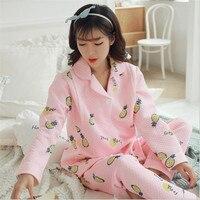 2 Pcs/Set Thicken maternity pajamas Pineapple Nursing Cloth Pregnancy women winter Breastfeeding Cloth Set For Pregnant Women