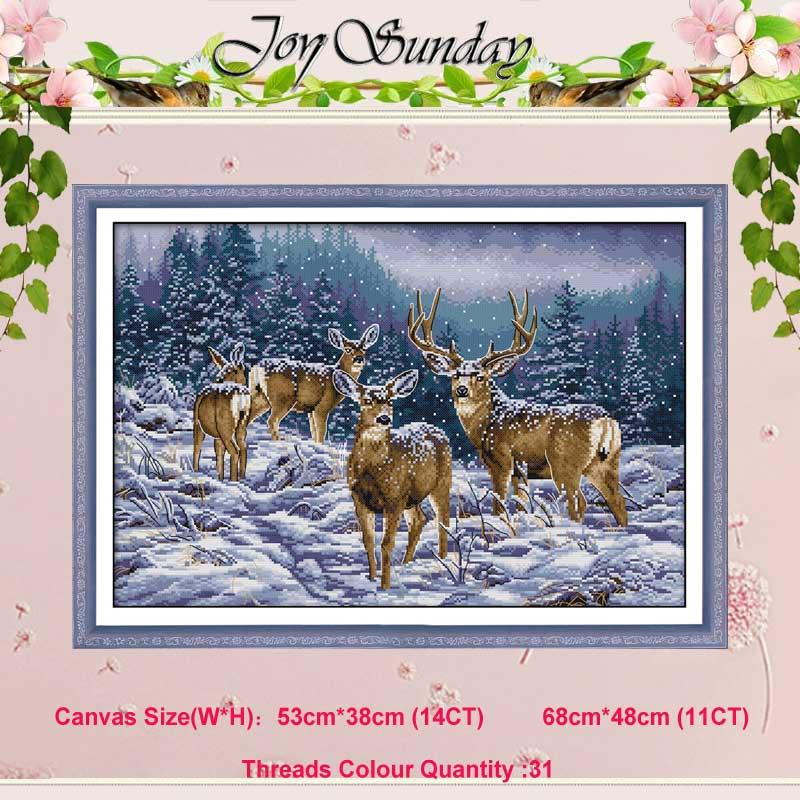 겨울 사슴 11CT 14CT 동물 크로스 스티치 세트 DIY DMC 중국어 크로스 스티치 키트 자수 바느질 집 장식
