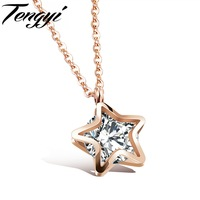 Romantic Women Lady Stars Gold Plated Stainless Steel Pendant Necklaces Chain Women Jewelry Best Birthday Gift