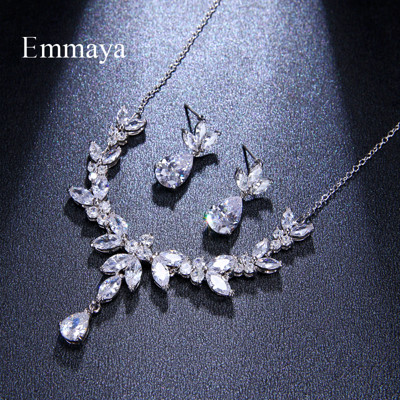 Image 3 - Emmaya Vivid Leaves shape Dazzling Wedding Costume Accessories CZ Crystal Colorful Gift Earrings And Necklace Jewelry SetsBridal Jewelry Sets   -