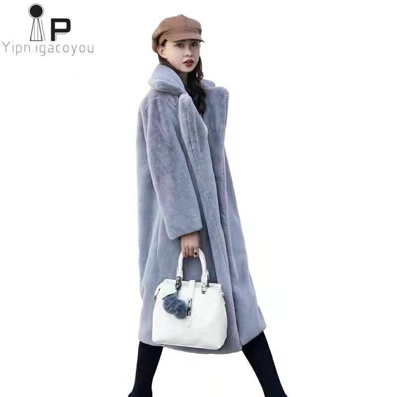 Long Faux Mink Fur Coat Women Autumn Winter Plus Size Thick Warm Fake Fur Jacket Womens