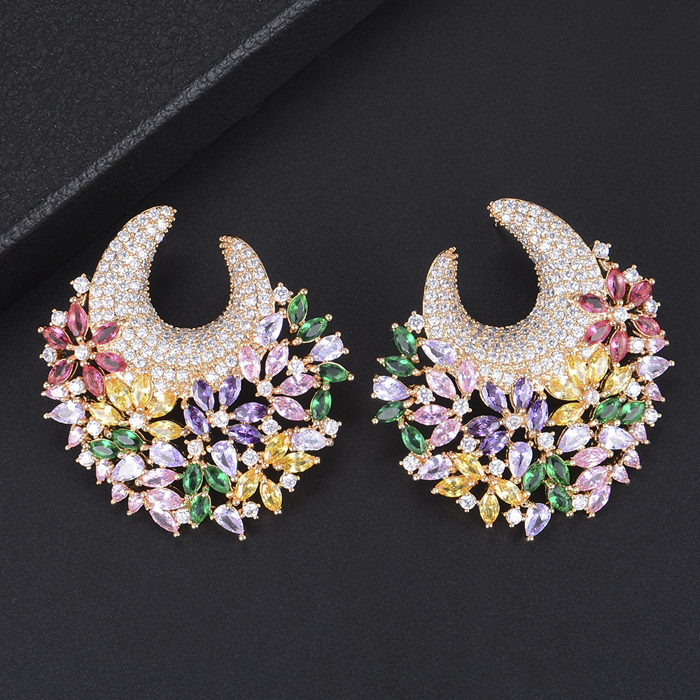 43*45mm Brand Luxury Multiply Flowers Shape AAA Full Cubic Zirconia Stud Earrings For Party Bridal Engagement Earrings Jewelry