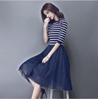 New Spring And Autumn Women Korean Dress Stripes Stitching Vintage Puff Aline Dress Retro Cotton And