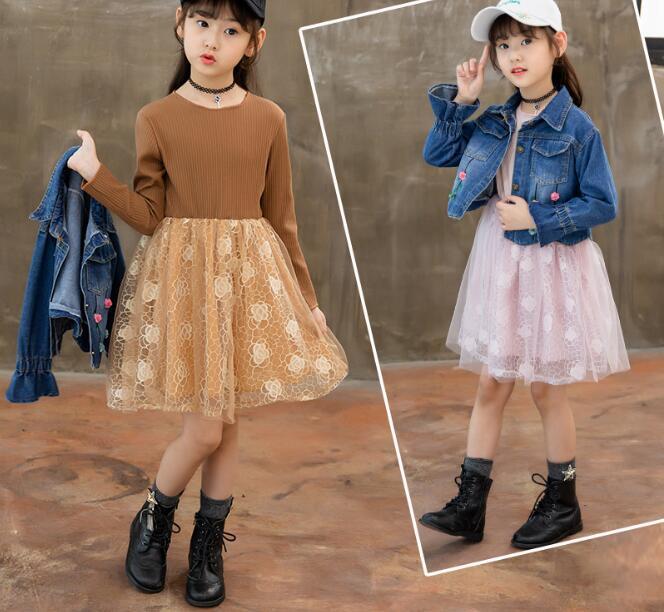 1e925639a87 ... Girls Teenagers Autumn 2018 School 2pcs Kids Clothing Sets Suits Denim  Jackets +. sku  32917555565