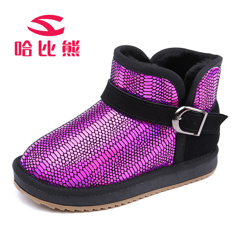 2017 New Winter Children Shoes Leather Waterproof Short Boots Kids Snow Boots Brand Girls Boys Rubber Boots Fashion Sneakers 2017 brand designer warm velvet sports children ankle boots kids girls winter genuine leather shoes infant boys toddler sneakers