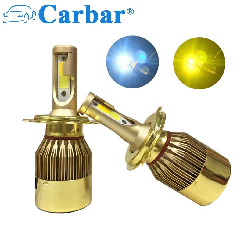 Carbar# Dual Color LED Headlight H7 Car LED Headlamp Light Two Color 3000K 6000K LED Bulb H1 H3 H4 H7 H8 H11 9005 9006 880 881 vehigo 72w cob h7 h1 h4 h3 h11 h8 9005 9006 9007 9012 880 c6 led bulb headlamp light golden car headlight bulbs 3000k 6000k lamp