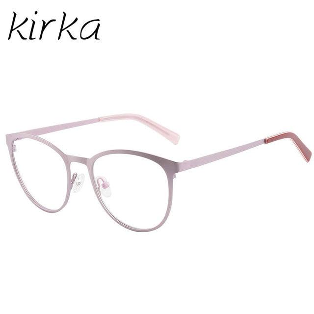 kirka metall rosa frauen cat eye brillen rahmen runde brillen mode typ brillen runde rahmen glaser