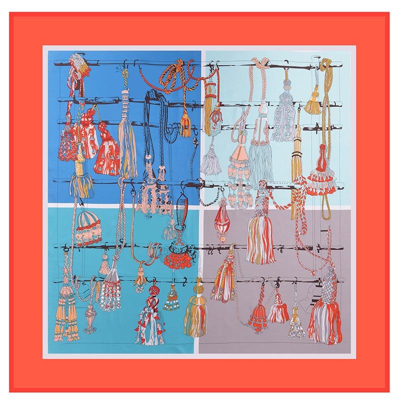 POBING 130CM*130CM Silk Scarf Women Large Shawls Luxury French Tassels Print Square Scarves Echarpes Foulards Femme Neckerchief