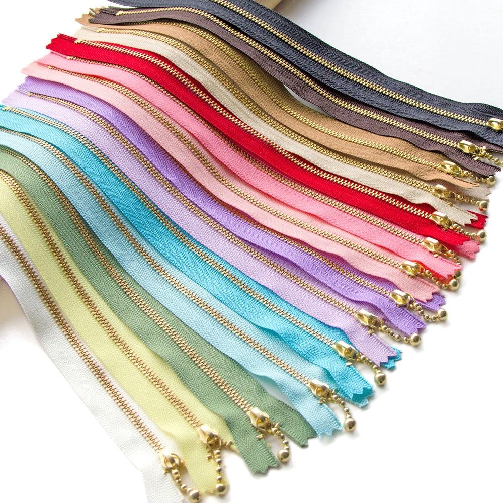 1pcs  YKK 3# Gold Tooth  Metal Zipper Close-end Non Lock DIY Bag Purse Zipppers Patchwork  Accessories