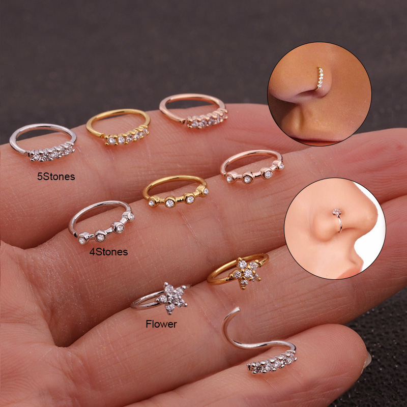 Sellsets 20gx8mm Nose Piercing Body Jewelry Cz Nose Hoop Nostril Nose Ring Tiny Flower Helix Cartilage Tragus Ring