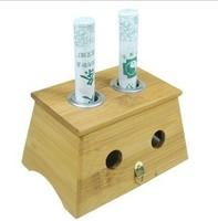 Bamboo double moxibustion 2 box utensils rack moxa roll