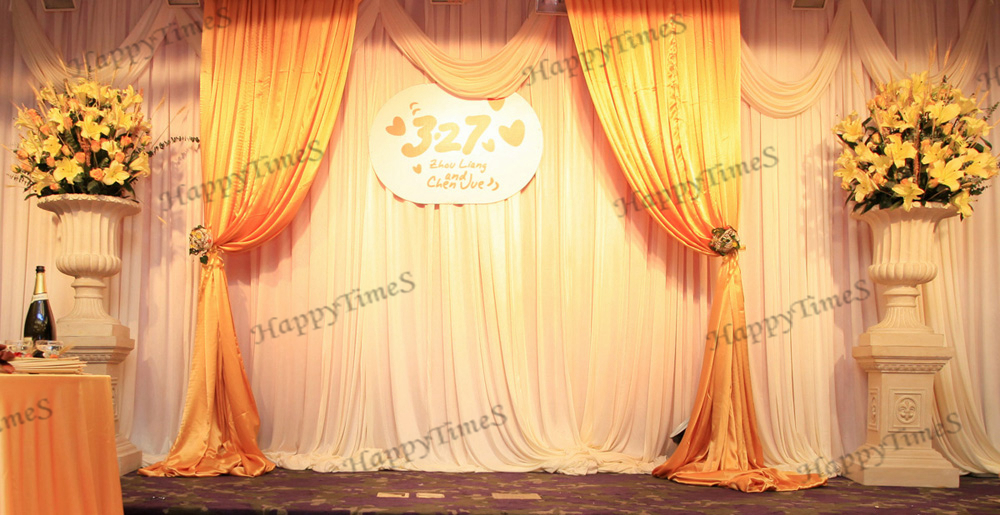 White Wedding Backdrop With Gold Drape White Swag 3M High 6M Wide Ice Silk Fabric