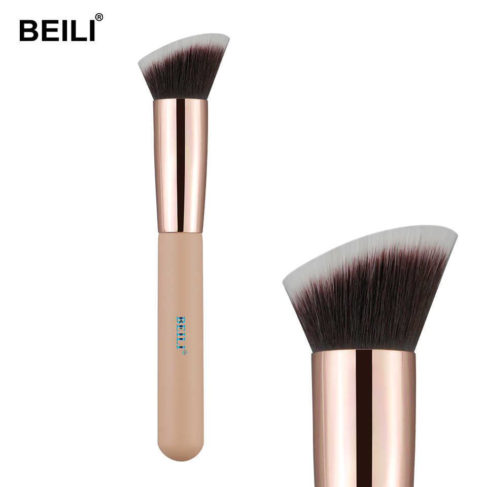 BEILI Foundation Flat Contour Cream Powder Blush Face Shape Single Synthetic Hair Black Makeup Brushes(China)