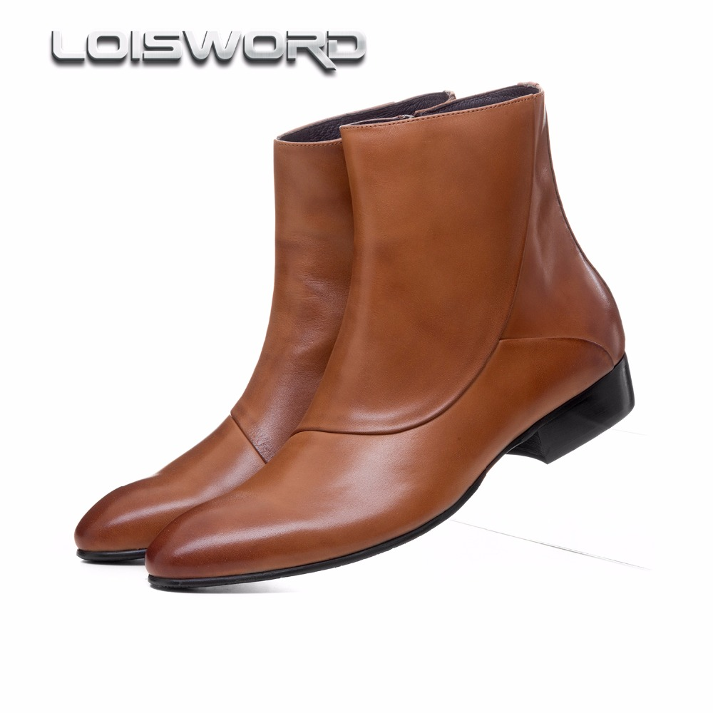 LOISWORD Quality black / brown zipper mens ankle boots genuine leather motorcycle shoes mens work shoes dress boots fashion black brown oxfords shoes mens boots genuine leather shoes mens dress boots business mens ankle boots