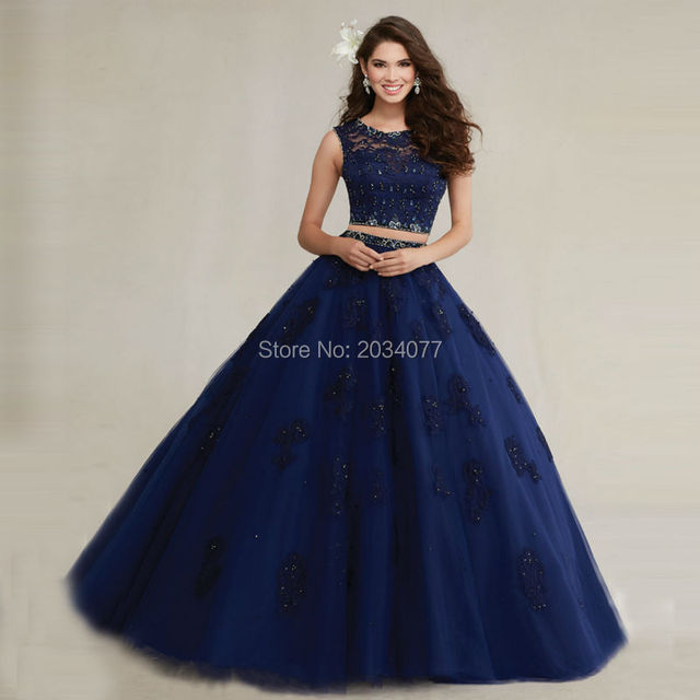custom made ballkleider zweiteilige quinceanera kleider marineblau ...
