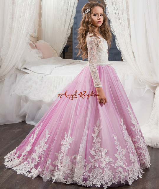 1f916be1a3ca1 Jolies robes de filles longues fleur violet clair a-ligne dentelle manches  longues robe de
