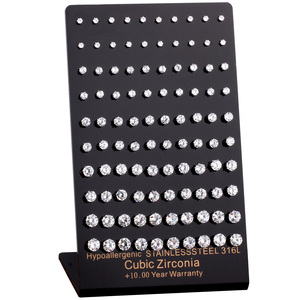 Image 1 - LUXUSTEEL חדש לגמרי 50 זוגות\חבילה היפואלרגנית עגילי 316L נירוסטה מעוקב Zirconia Stud עגיל 3mm 7mm סיטונאי