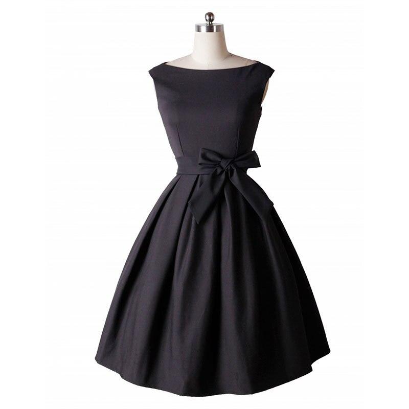 0185d41a7a Kobiet Moda Retro 40 s 50 s Krótkie Letnie Sukienki Bez Rękawów Black Red  Plisowane Bow Tie Vintage Audrey Hepburn Strona sukienka w Kobiet Moda  Retro 40 s ...