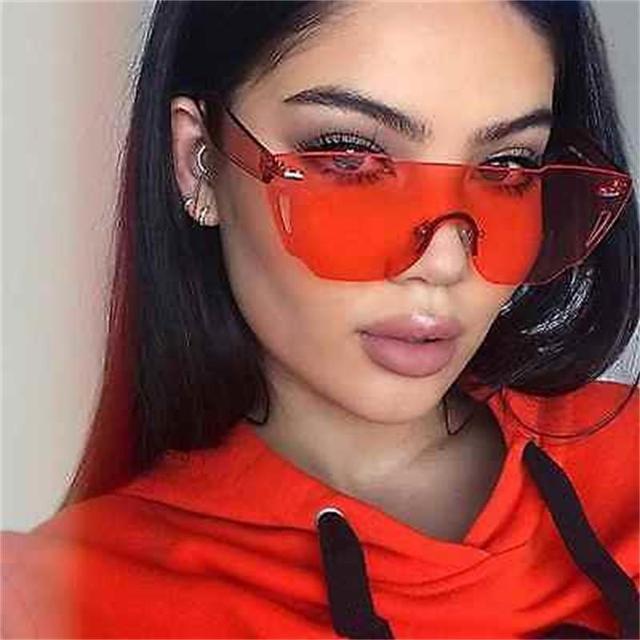 Яркие цвета, желтые, розовые, красные солнцезащитные очки, женские Популярные Модные оттенки, плоские, без оправы, солнцезащитные очки для женщин, Lunette de soleil