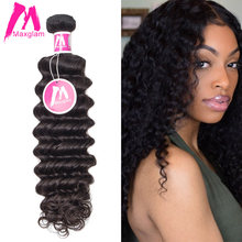 Maxglam Brazilian Virgin Hair Deep Wave Unprocessed Natural Color Human Hair Weave Bundles Free Shipping(China)