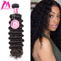 Maxglam Brazilian Virgin Hair Deep Wave Unprocessed Natural Color Human Hair Weave Bundles Free Shipping