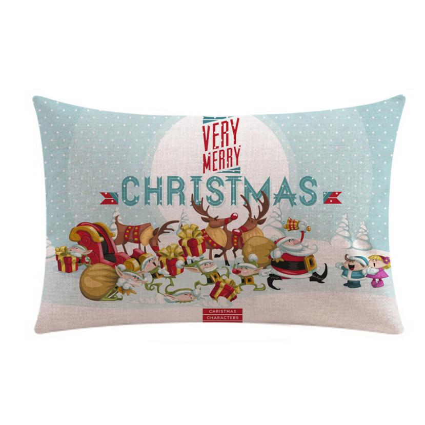 Christmas Decorative Pillow Cases : Merry Christmas Rectangle Linter Pillow Cases Decorative Pillows For Sofa Seat Cushion Covers ...