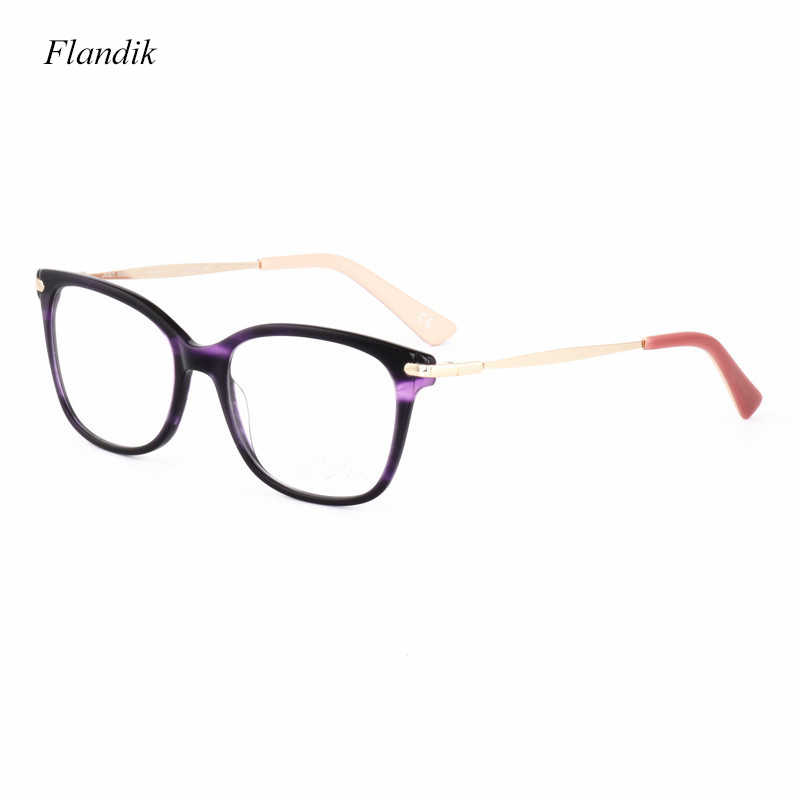Black Round Acetate Optical Eyeglass Women Metal Colored Frame Ultra-light Fashion Luxury Myopia Prescription Anti-blue Lenses