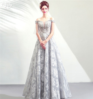 Gray A-line Cap Sleeve Tulle Lace Beading Formal Vintage Evening Dresses 2020 New Fashion Bride Party Prom Dress XH155