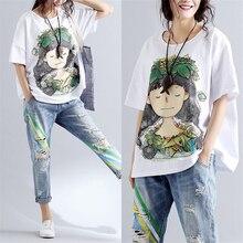 Женская летняя коллекция, модная брендовая футболка в Корейском стиле с рисунком венка для девочек, футболка с коротким рукавом и круглым вырезом, Женская Повседневная белая футболка