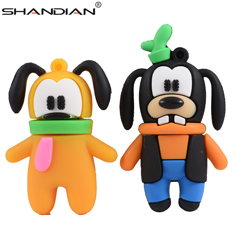 SHANDIAN  Mickey And Goofy Pluto USB Flash Drive Pen Drive Animal Cartoon Pendrive 4GB/16G/32GB/64GB Exquisite Pendrive Funny Us
