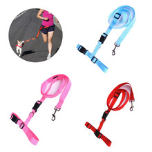 Candy Colors Waist Pet Dog Leash Running Jogging Puppy Dog Lead Collar Sport Adjustable Walking Leash.Free Shipping