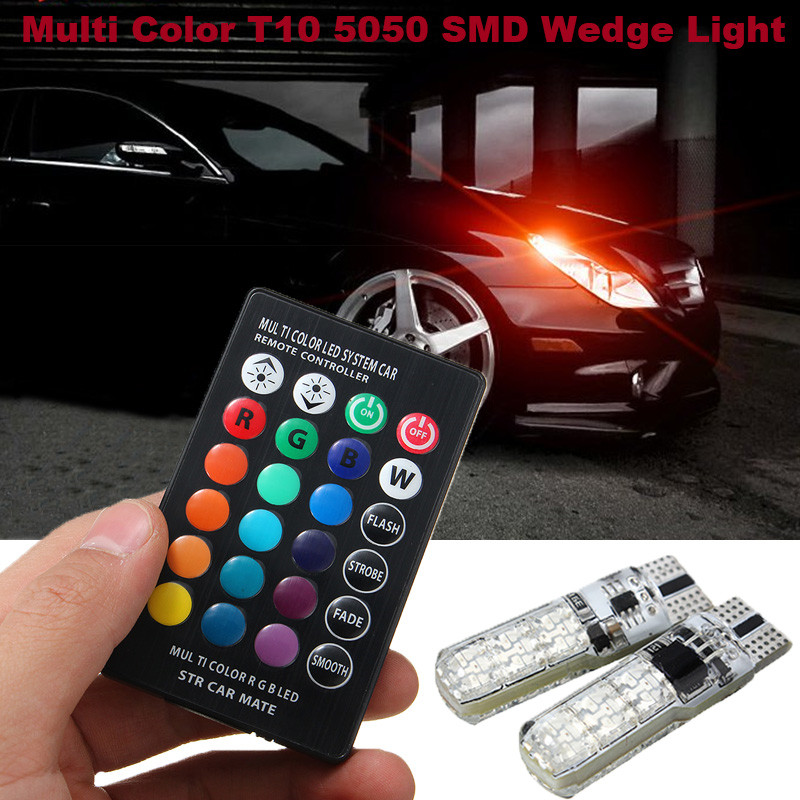 2pcs Car RGB LED 12V T10 W5W 194 168 5050 6SMD Auto Car Reading Wedge Side Light LED Demo Lamp Bulb With Remote Controller