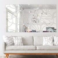 Творческий DIY площадь абстрактный декоративные акриловые зеркало Наклейки на стену ТВ Наклейки на стены Спальня гостиной Домашний декор пл...