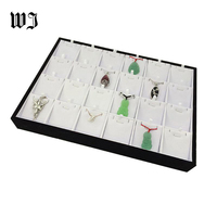 24 Compartments Necklace Pendant Jewelry Tray Showcase Display Storage Organizer Stackable White PU Leather Earring Stand Holder