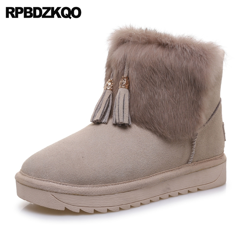 Ankle Faux Fur Fringe Furry Slip On Black Booties Shoes Flat Casual Metal Winter Snow Boots Women New Ladies Chinese Fashion booties warm shoes winter round toe side zip boots brown real fur flat casual ankle female new ladies 2017 chinese fashion short