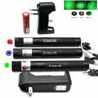 Powerful Laser Pointe Green Red Laser Blue Pointer Sight Device Adjustable Focus Lazer Laser 303, Choose Charger & 18650 Battery