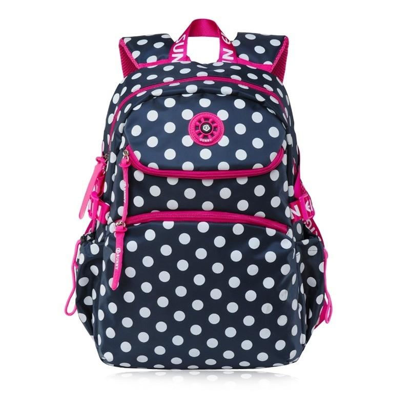 Sac à dos femme nylon imperméable à pois impression enfants sacs de voyage femme mochila infantil escolar bolsa bolso pour les filles