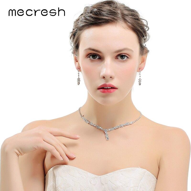 Mecresh Luxus Zirkonia Braut Schmuck Sets Frauen Zubehör Blatt Blume Hochzeit Halskette Set Mit Clip Auf Ohrringe Tl481 Hochzeits- & Verlobungs-schmuck