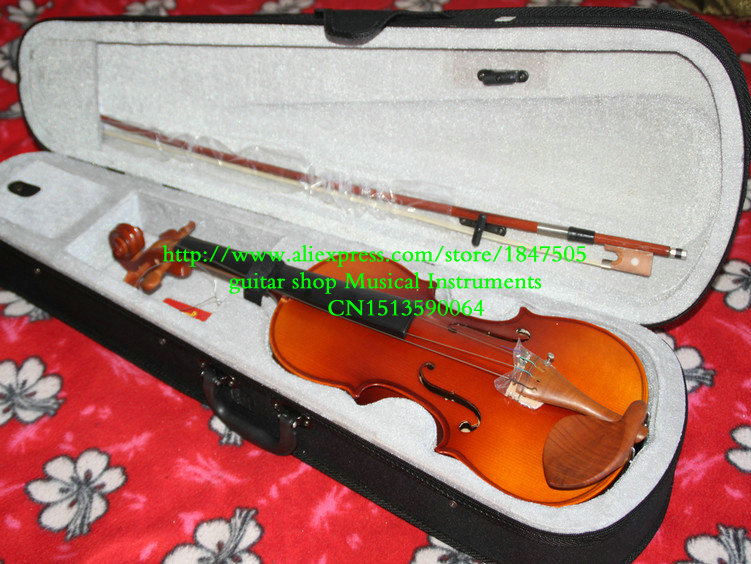 NEW 4/4 VIOLIN FULLSize , with Case, BOW, High quality Adults Violin Pine panel handmade new solid maple wood brown acoustic violin violino 4 4 electric violin case bow included